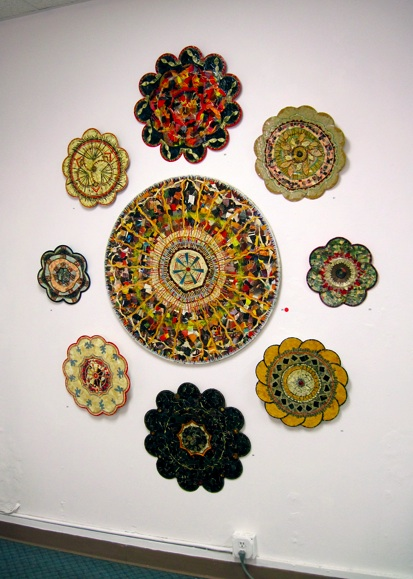 Mandalas installed in a gallery exhibit