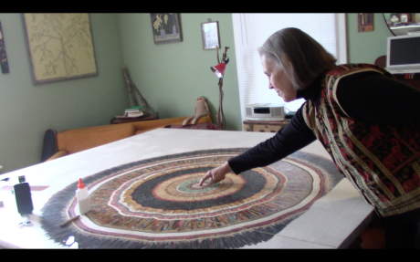 Collage artist Deborah O'Keeffe and her largest composition to date.