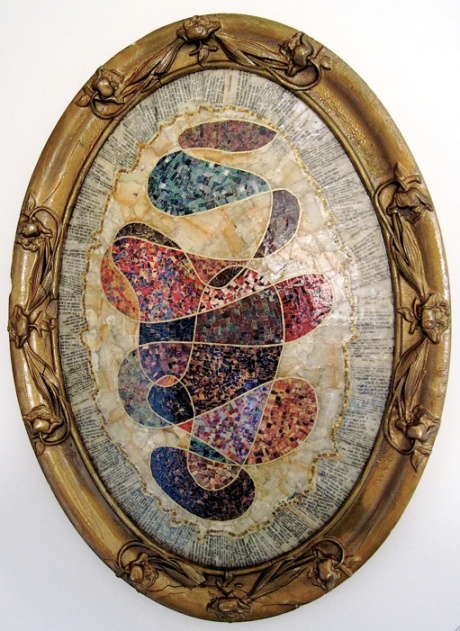 "Twenty-three Psalms. Mosaic paper collage on papered convex glass (recycled glass painting, disintegrated, and frame), finished with multiple coats polyurethane varnish. Hanger fixed on back. 17"" w x 23"" h. $775.00."