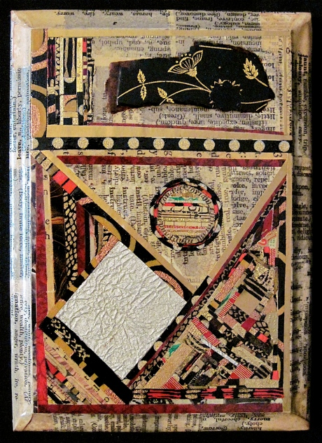 """Argent et Or. Mosaic paper collage on wood, finished with multiple coats polyurethane varnish. Hanger fixed on back. 5"""" w x 7"""" h. $68.00."""