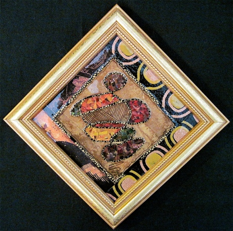 "Autumn Spirit. Mosaic paper collage on framed mat board, finished with multiple coats polyurethane varnish. Hanger fixed on back. 6.25"" x 6.25"". $68.00."