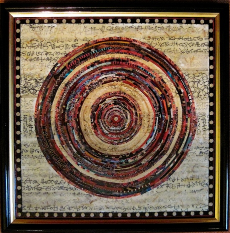"Brave New World. Mosaic paper collage and inked asemic writing on framed mat board, finished with multiple coats polyurethane varnish. Hanger fixed on back. 10"" x 10"". $175.00."