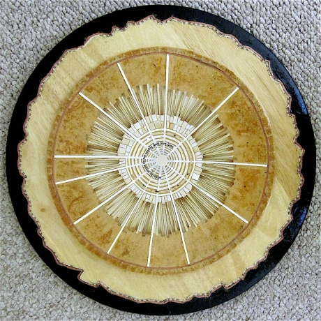 "Clear Day. Mosaic collage on wood, finished with multiple coats polycrylic varnish. Hanger fixed on back. 12.25"" diameter. $245.00."