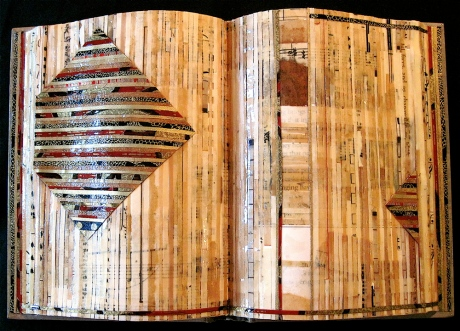 "Continuum. Mosaic paper collage on altered book, finished with multiple coats polyurethane varnish. Hanger fixed on back. 10.75"" w x 7.25"" h. $225.00."