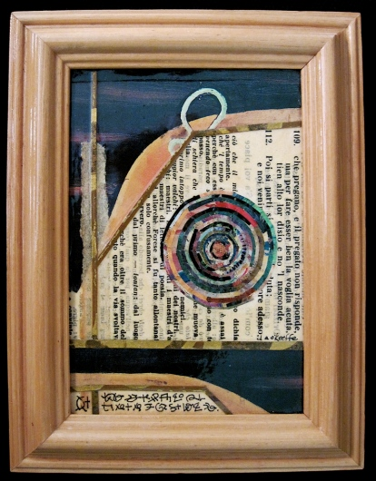 "The Dawn of Mystery. Mosaic paper collage on framed mat board, finished with multiple coats polyurethane varnish. Hanger fixed on back. 5"" w x 6.5"" h. $58.00."