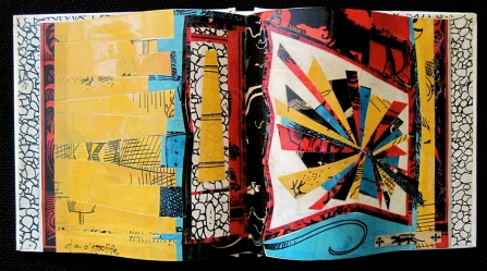 "Ebullient. Mosaic collage on altered book, finished with multiple coats polyurethane varnish. Hanger fixed on back. 8.5"" w x 4.25"" h. $110.00."