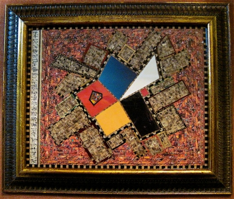 "En Arche ho Logos. Mosaic paper collage on framed matboard, finished with multiple coats polyurethane varnish. Hanger fixed on back. 12.75"" w x 10.75"" h. $225.00."