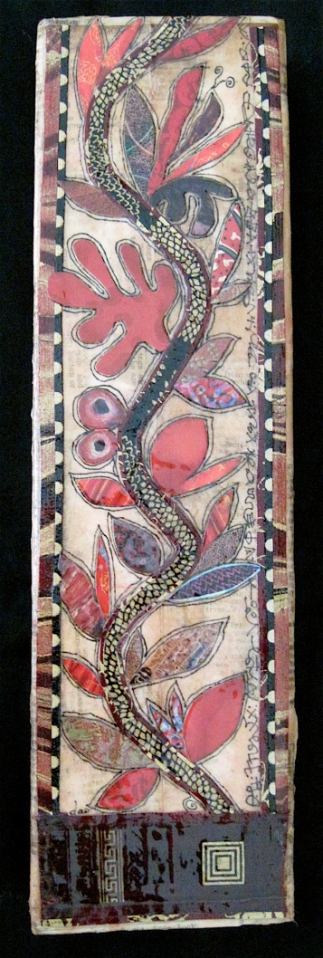 "Et Plantabis Magnificent Incredibili. Paper collage on wood, finished with multiple coats polyurethane varnish. Hanger fixed on back. 3.5"" w x 12.25"" h. $95.00."