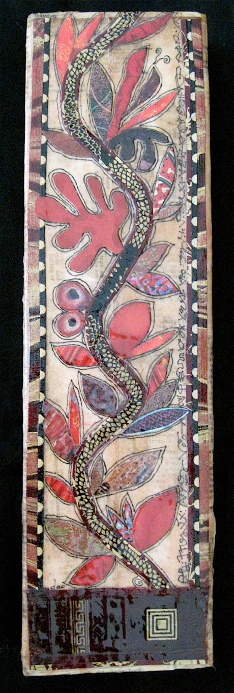 """Et Plantabis Magnificent Incredibili. Paper collage on wood, finished with multiple coats polyurethane varnish. Hanger fixed on back. 3.5"""" w x 12.25"""" h. $95.00."""