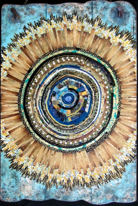 "Fleur du Soleil. Mosaic paper collage on weathered wood, finished with multiple coats polyurethane varnish. Hanger attached at top. 7.75"" w x 11.5"" h (excluding hanger). $175.00."