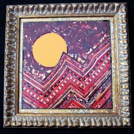 """Full Moon on the Mountain. Mosaic paper collage on framed mat board, finished with multiple coats polyurethane varnish. Hanger fixed on back. 8.5"""" x 8.5"""". $125.00."""