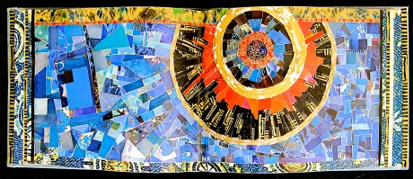 """Glad Night. Mosaic paper collage on altered book, finished with multiple coats polyurethane varnish. Hanger fixed on back. 9.25"""" w x 3.75"""" h. $155.00."""