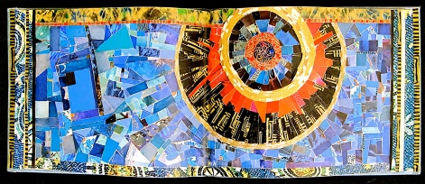 "Glad Night. Mosaic paper collage on altered book, finished with multiple coats polyurethane varnish. Hanger fixed on back. 9.25"" w x 3.75"" h. $155.00."