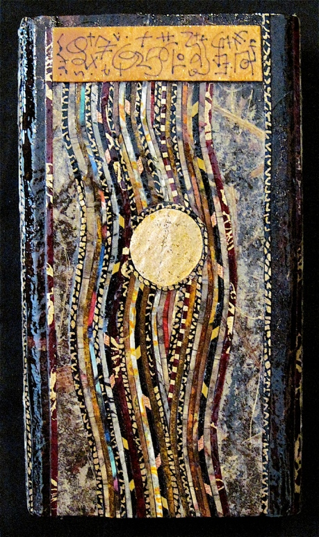 """The Golden Portal. Mosaic collage on wood, finished with multiple coats polyurethane varnish. Hanger fixed on back. 3"""" w x 6.5"""" h. $62.00."""