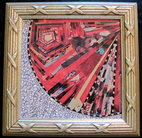 """The Golden Ray. Paper collage, drawing on framed mat board, finished with multiple coats polyurethane varnish. Hanger fixed on back. 9"""" x 9"""". $125.00."""