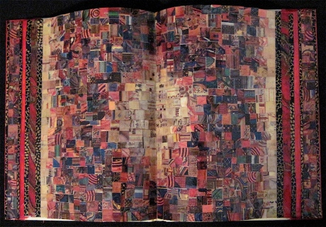 "Illuminarium. Mosaic paper collage on altered book, finished with multiple coats polyurethane varnish. Hanger fixed on back. 8.5"" w x 5.5"" h. $165.00."