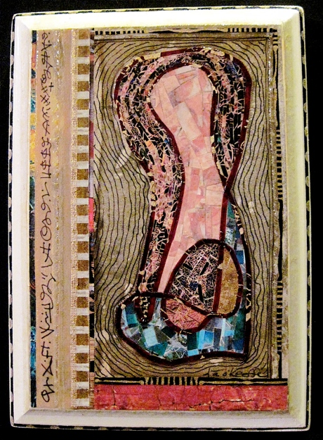 """Lotus. Mosaic paper collage, ink drawing and asemic writing on papered wood, finished with multiple coats polyurethane varnish. Hanger fixed on back. 5"""" w x 7"""" h. $65.00."""