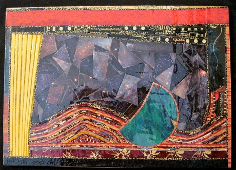 "Luna. Mosaic paper collage on wood, finished with multiple coats polyurethane varnish. Hanger fixed on back. 10.75"" w x 7.75"" h. $145.00."