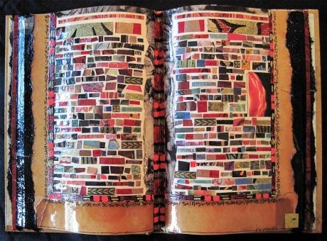 "Marginalia. Mosaic paper collage on altered book, finished with multiple coats polyurethane varnish. Hanger fixed on back. 10.5"" w x 7.25"" h. $190.00."
