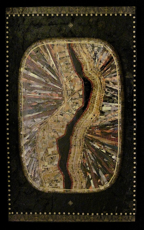"Mea Culpa. Mosaic paper collage on wood, finished with multiple coats polyurethane varnish. Hanger fixed on back. 12"" w x 18"" h. $255.00."