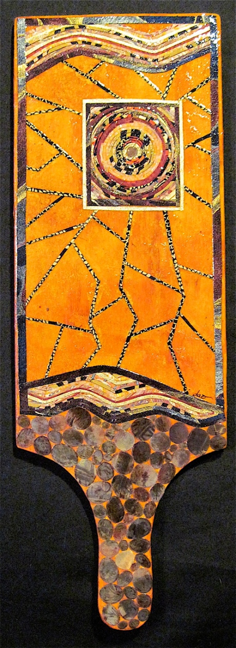 """The Open Window. Mosaic collage on wood, finished with multiple coats polyurethane varnish. Hanger fixed on back. 4.75"""" w x 14"""" h (at longest dimension). $110.00."""