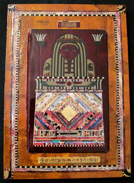 """The Pharaoh. Mosaic collage on vintage book cover mounted on wood, finished with multiple coats polyurethane varnish. Hanger fixed on back. 7.75"""" w x 11.75"""" h. $125.00."""