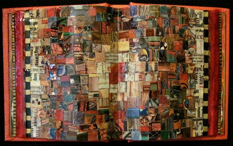 """Piccolo Libro. Mosaic paper collage on altered book, finished with multiple coats polyurethane varnish. Hanger fixed on back. 5.5"""" w x 3.25"""" h. $85.00."""