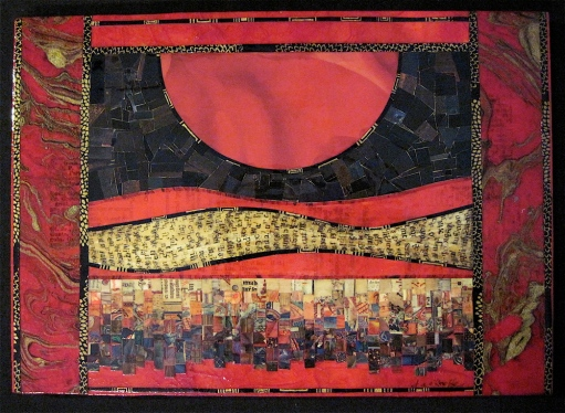 "House of the Rising Moon. Mosaic paper collage on wood, finished with multiple coats polyurethane varnish. Hanger fixed on back. 11"" w x 7.75"" h. $130.00."