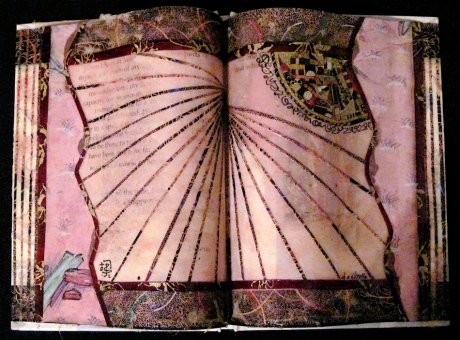 """The Rosy Dawn. Mosaic paper collage on altered book, finished with multiple coats polyurethane varnish. Hanger fixed on back. 8.5"""" w x 6"""" h. $130.00."""
