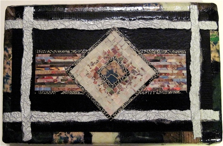 "Selah. Mosaic collage on wood finished with multiple coats polyurethane varnish. Hangable. 6"" w x 4"" h. $52.00."