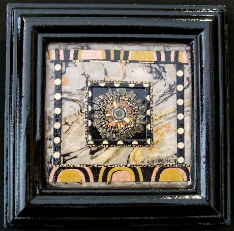 "Sol de la Noche. Mosaic paper collage on framed mat board, finished with multiple coats polyurethane varnish. Hanger fixed on back. 6"" x 6"". $58.00."