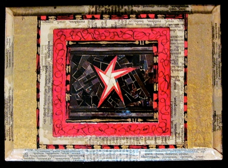 """Star Welcome. Mosaic collage on wood finished with multiple coats polyurethane varnish. Hanger fixed on back. 5"""" w x 7"""" h. $58.00"""
